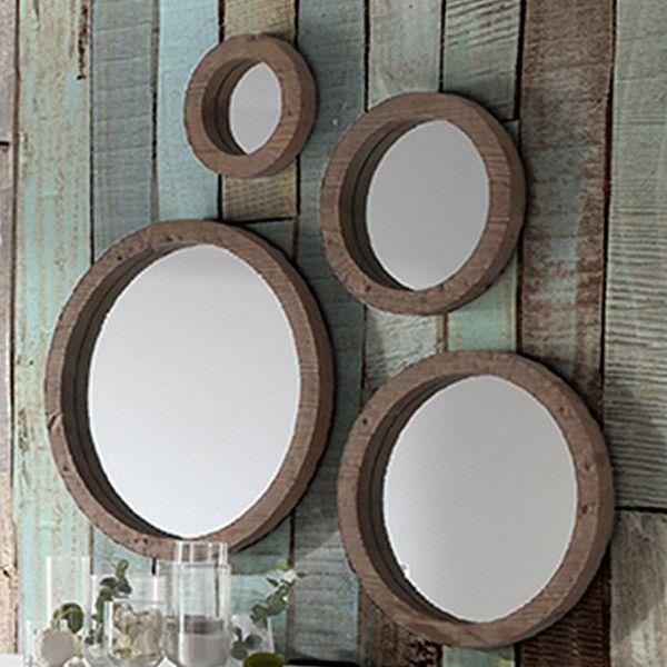 conjunto de espejos redondos de madera